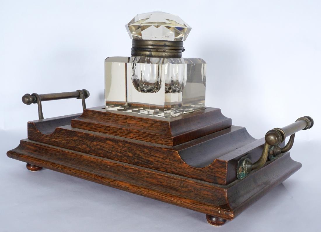 Victorian Oak Inkwell - 4