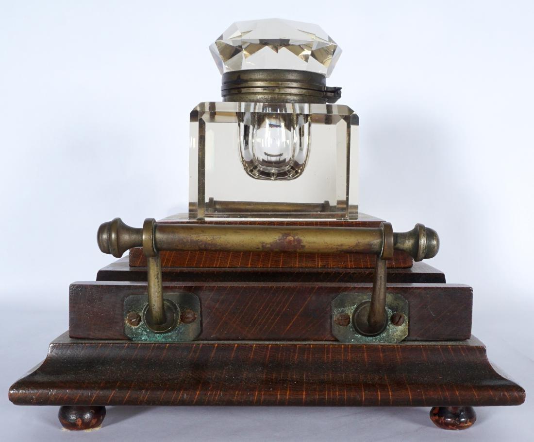 Victorian Oak Inkwell - 5