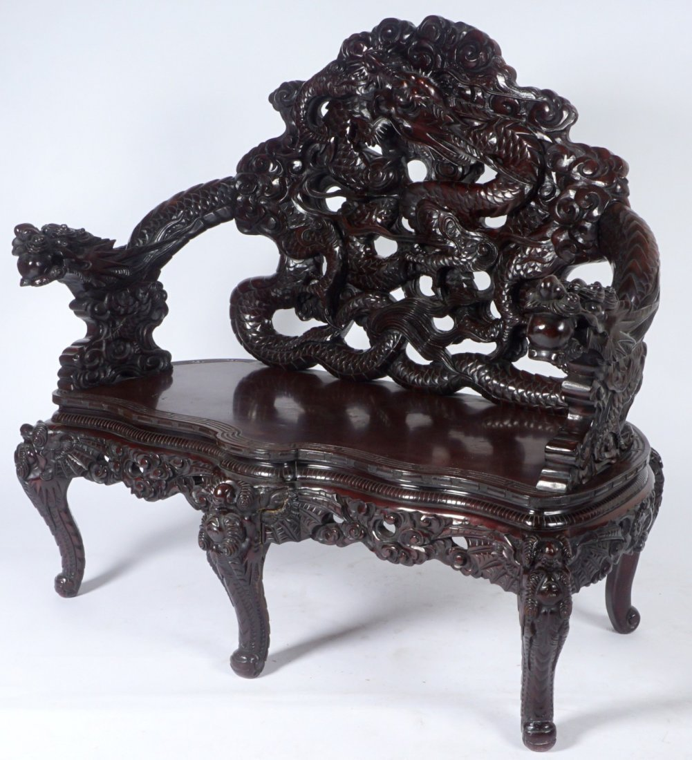 Chinese Carved Dragon Settee