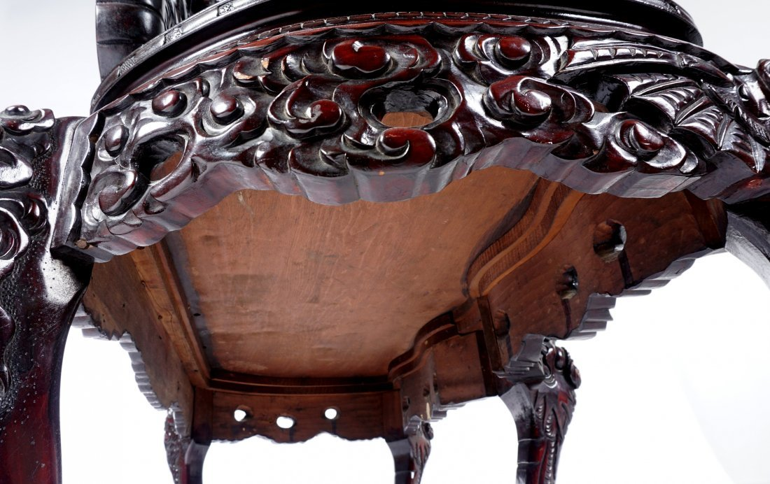 Chinese Carved Dragon Settee - 6