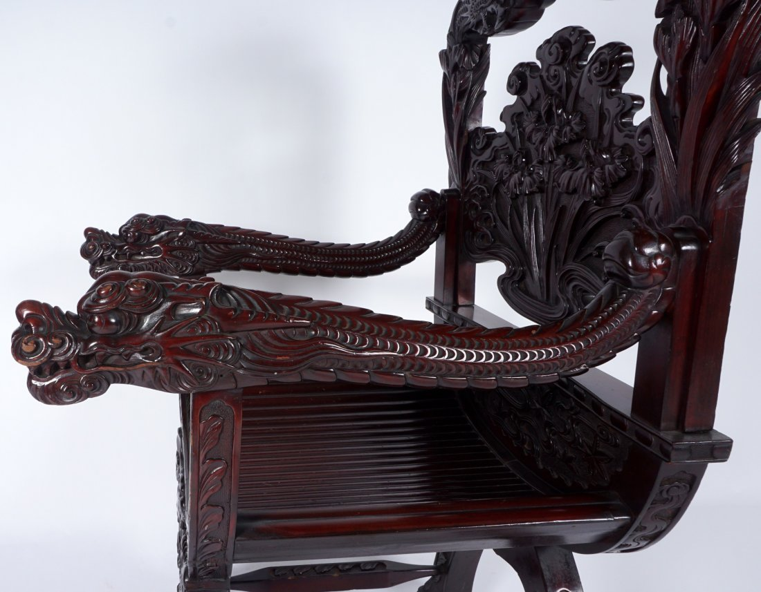 Chinese Carved Dragon Thorne Chair - 10
