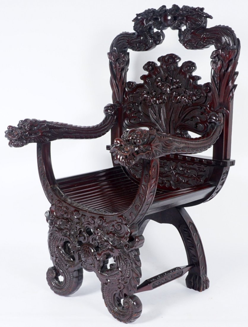 Chinese Carved Dragon Thorne Chair