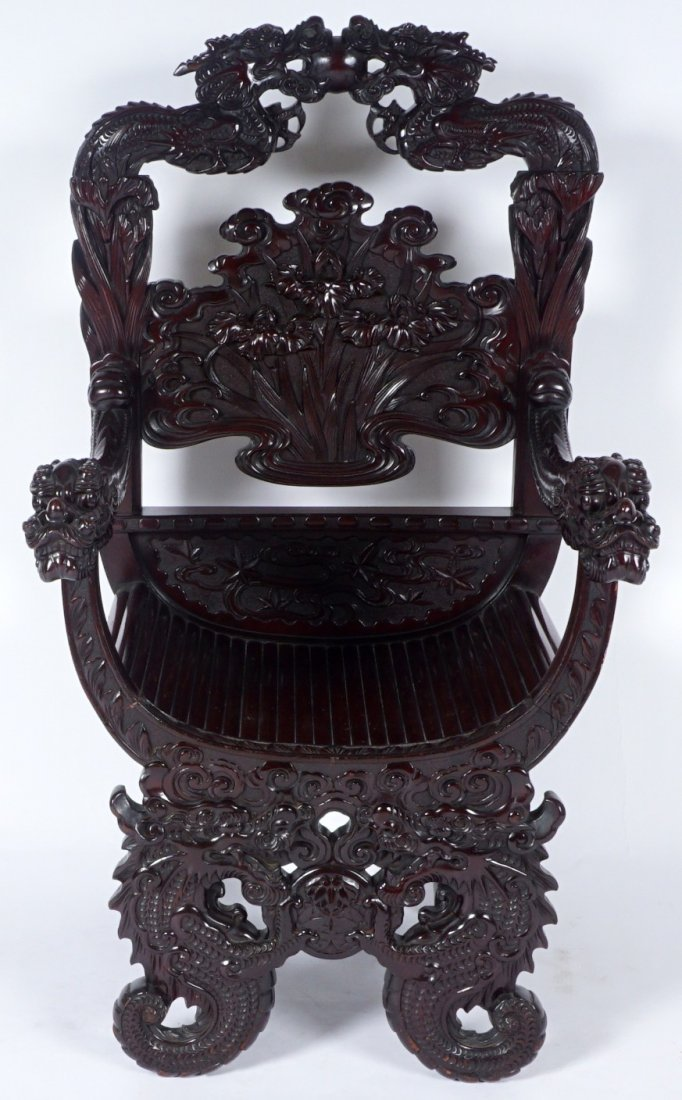 Chinese Carved Dragon Thorne Chair - 2