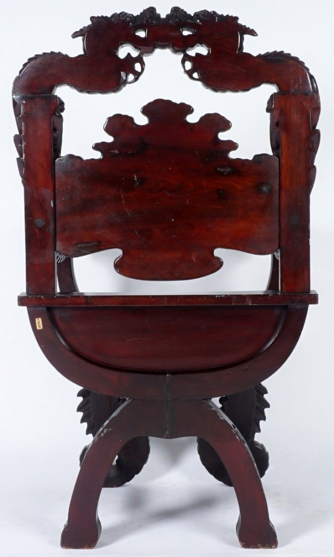 Chinese Carved Dragon Thorne Chair - 4