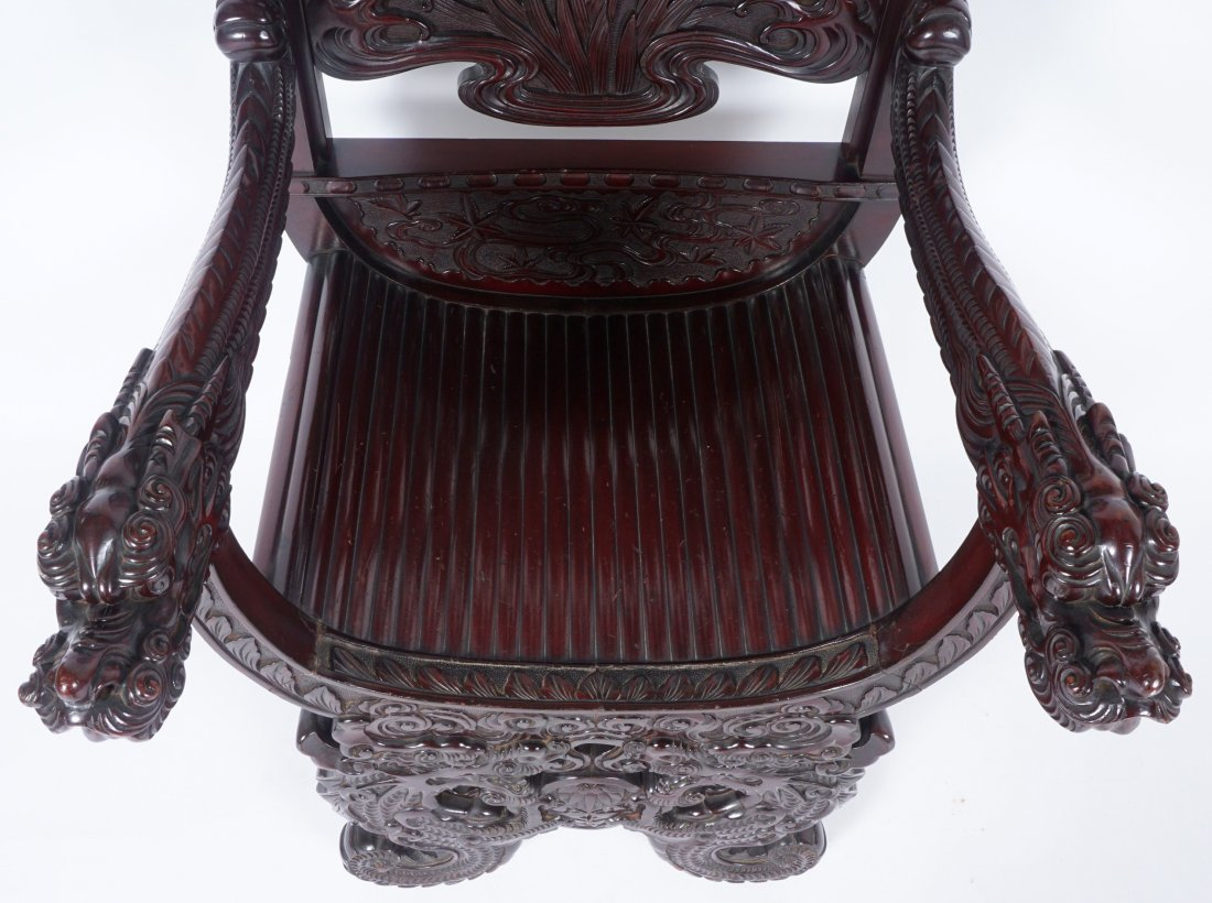 Chinese Carved Dragon Thorne Chair - 7