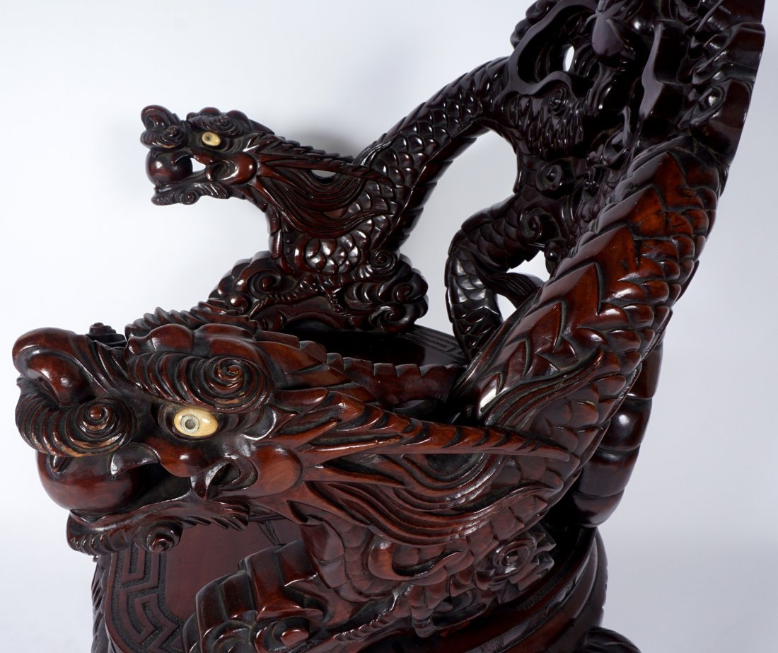 Chinese Carved Dragon Arm Chair - 10