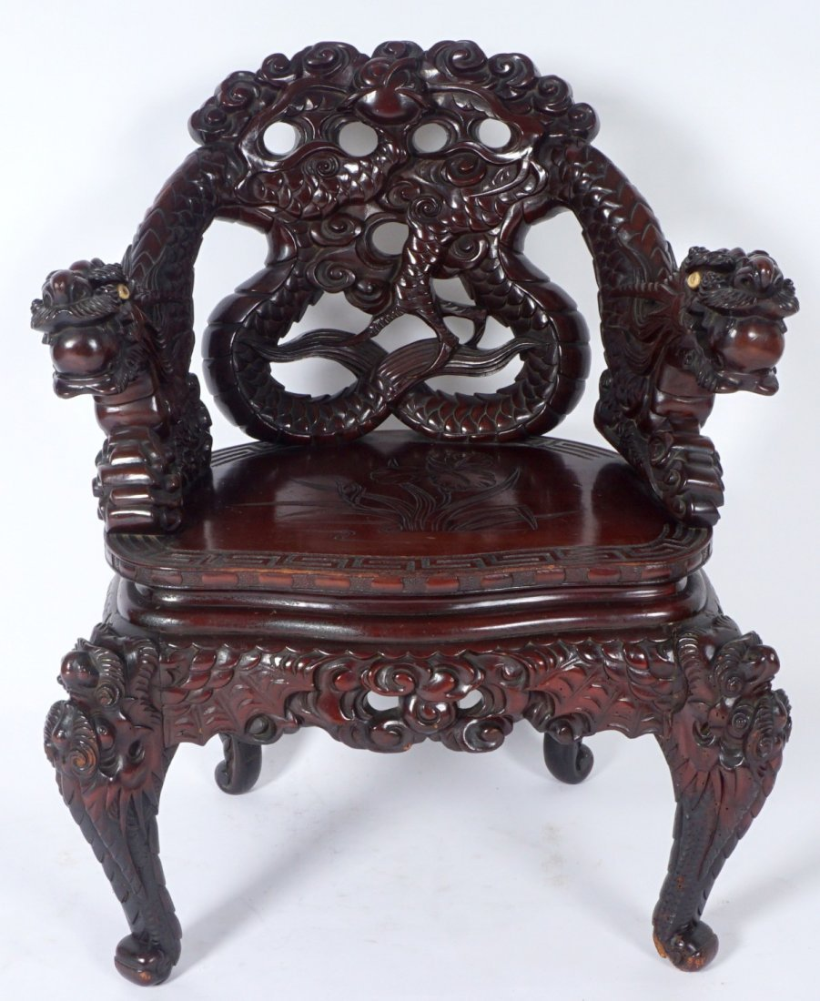 Chinese Carved Dragon Arm Chair - 2