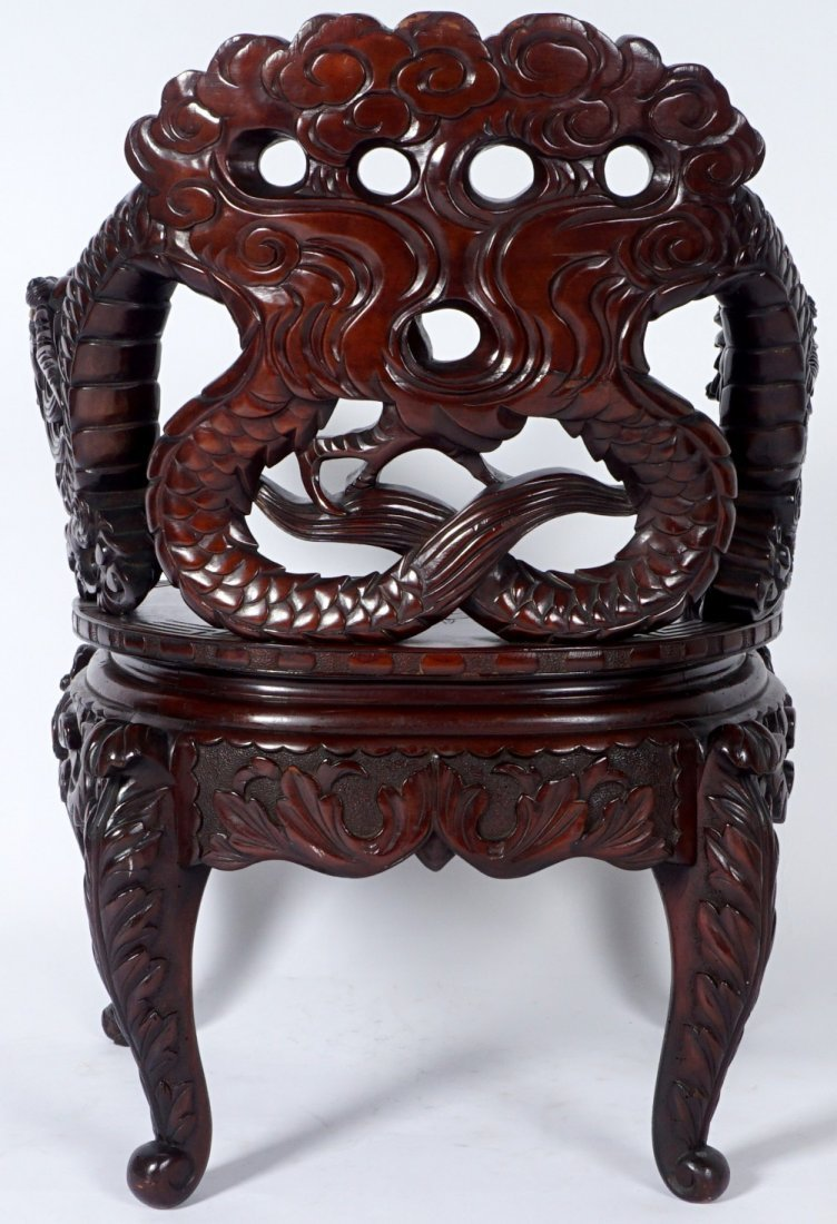 Chinese Carved Dragon Arm Chair - 4
