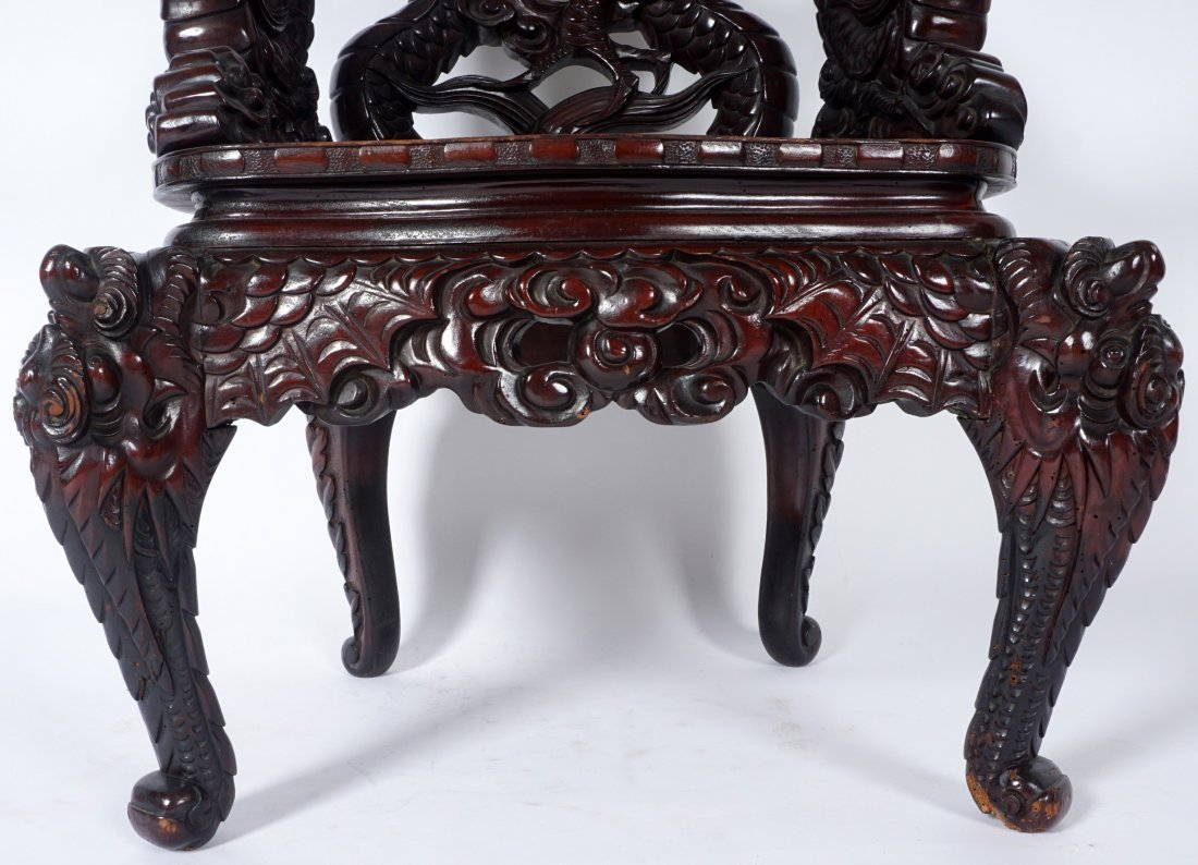 Chinese Carved Dragon Arm Chair - 6