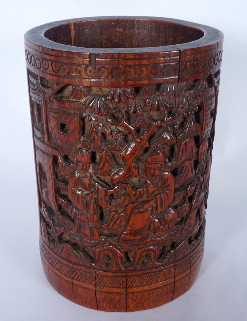 Chinese Carved Bamboo Scholars Brushpot