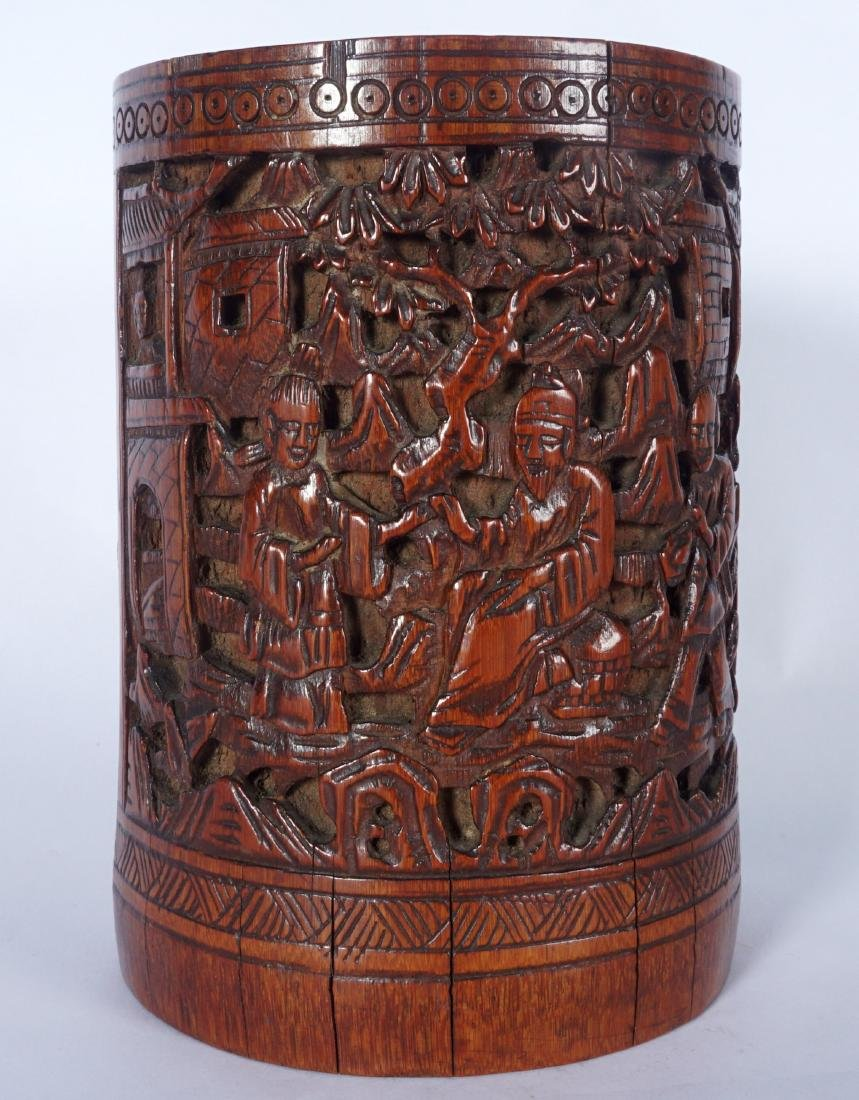 Chinese Carved Bamboo Scholars Brushpot - 2