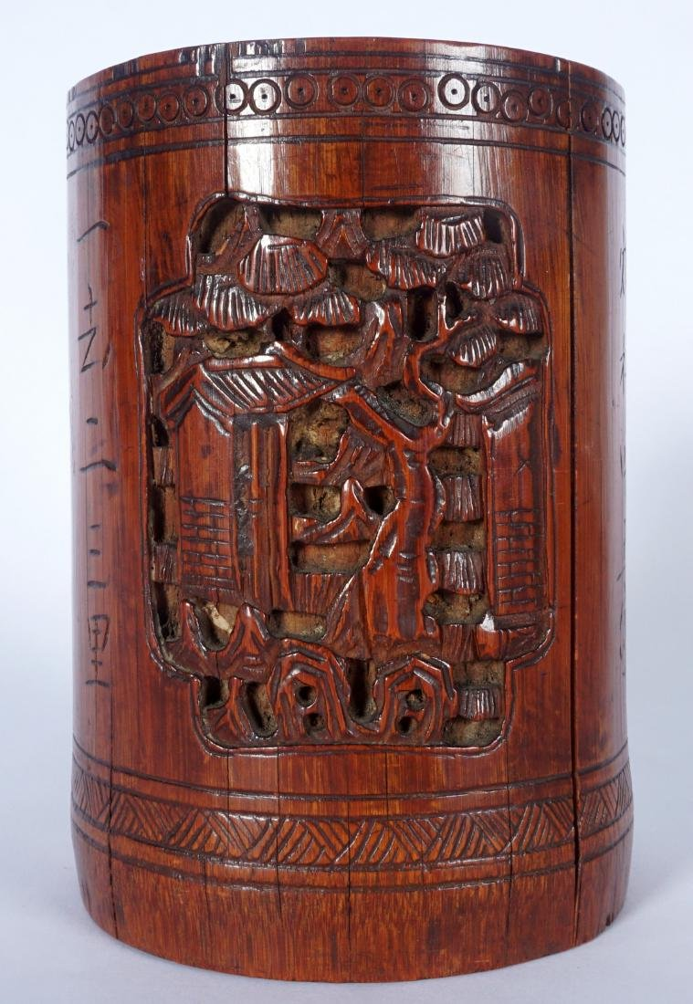 Chinese Carved Bamboo Scholars Brushpot - 6