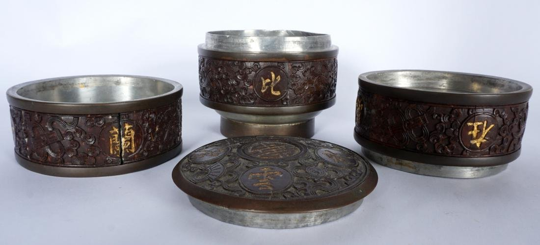 Chinese Carved Coconut 3 Tier Tea Caddy - 2