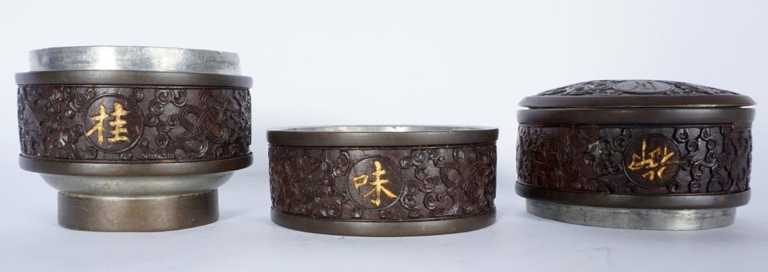 Chinese Carved Coconut 3 Tier Tea Caddy - 3