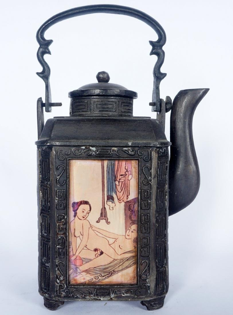 Chinese Pewter Teapot With Erotic Panels