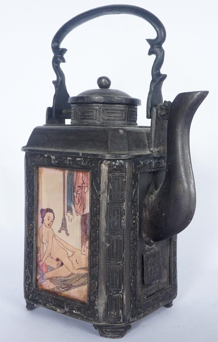 Chinese Pewter Teapot With Erotic Panels - 2