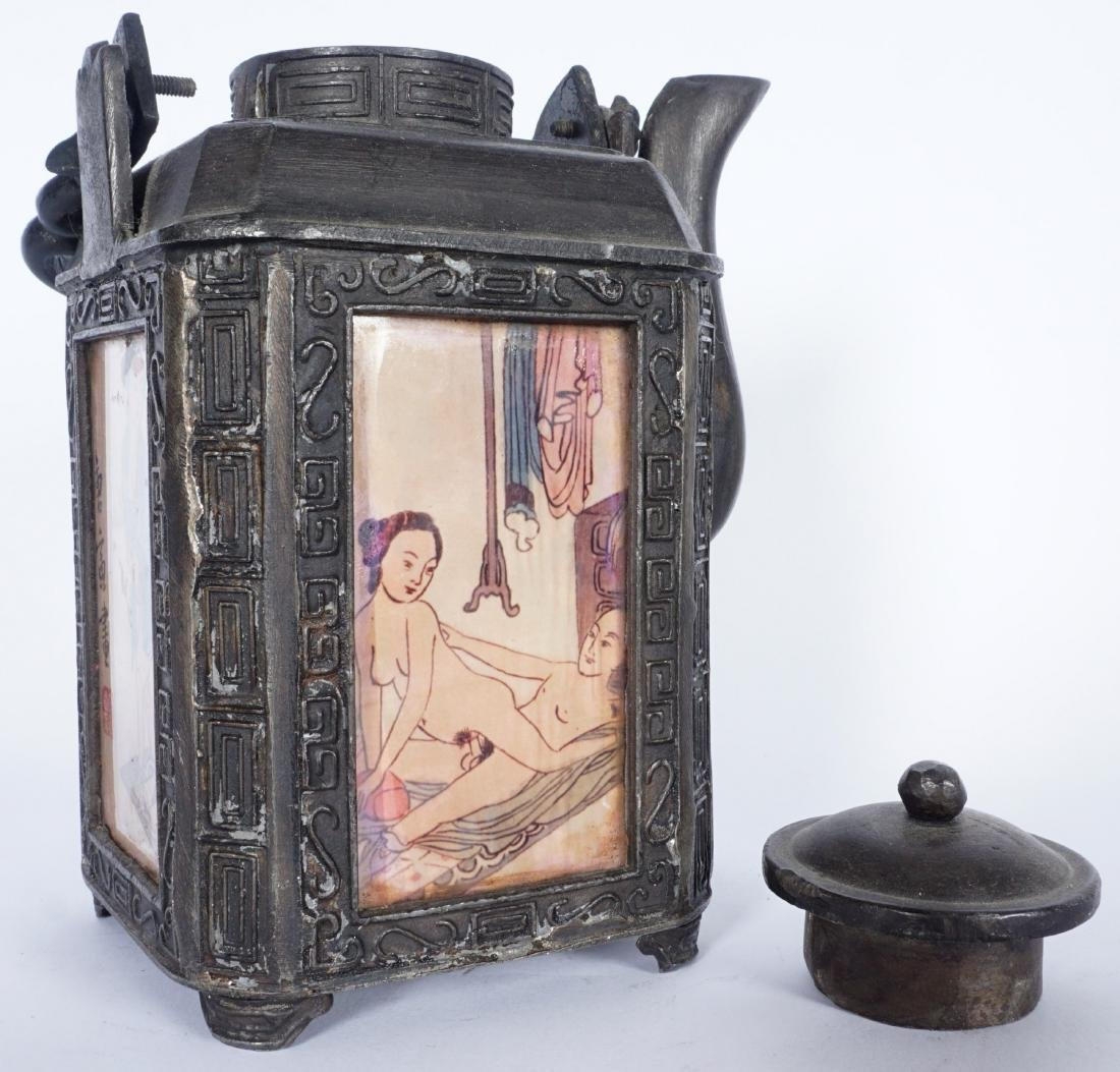 Chinese Pewter Teapot With Erotic Panels - 3