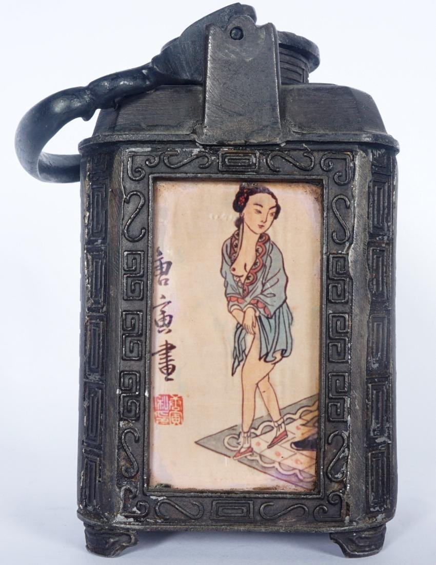 Chinese Pewter Teapot With Erotic Panels - 4