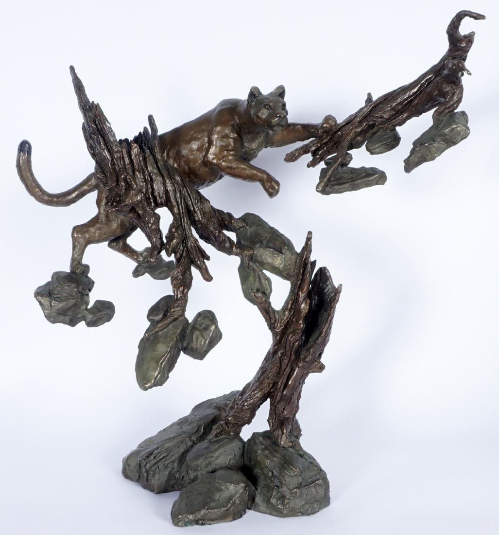Mark Hopkins Cougar in Tree Bronze Sculpture