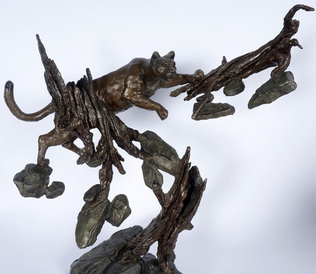 Mark Hopkins Cougar in Tree Bronze Sculpture - 2