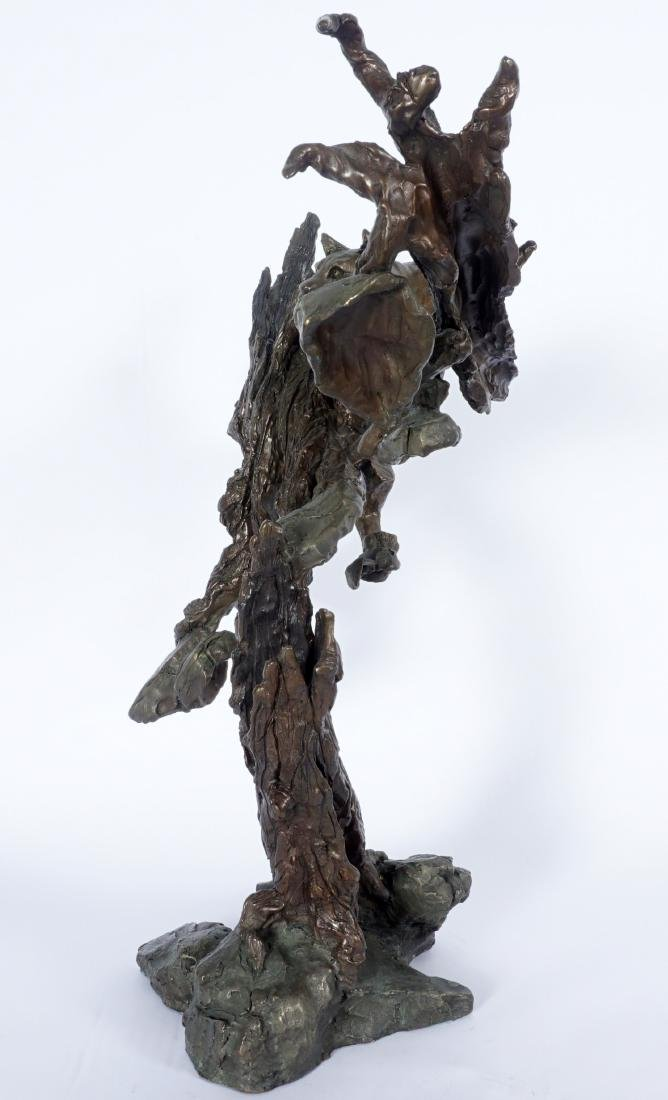 Mark Hopkins Cougar in Tree Bronze Sculpture - 3