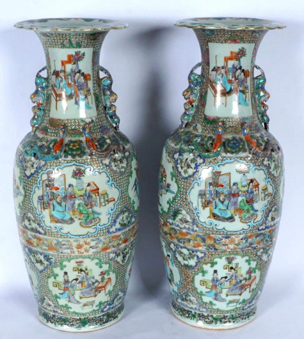 Pair Chinese Famille Verte Floor Vases