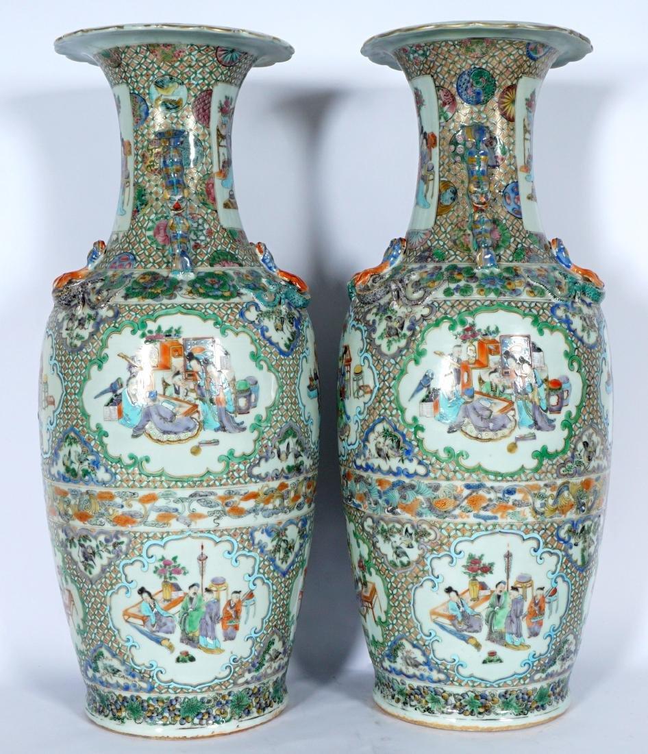 Pair Chinese Famille Verte Floor Vases - 3