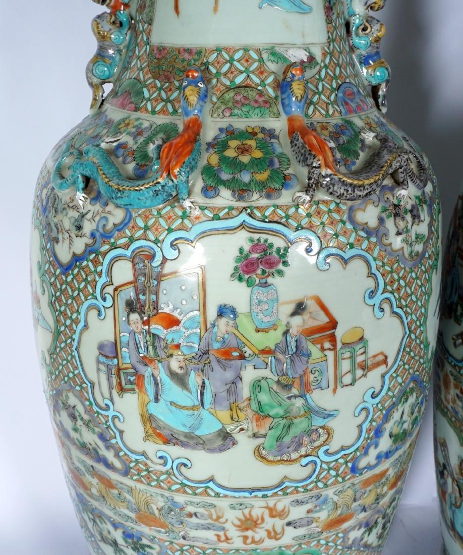 Pair Chinese Famille Verte Floor Vases - 5