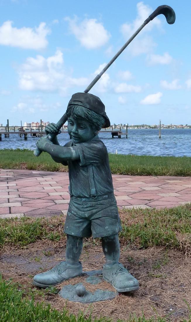 Garden Sculpture Bronze Boy Golfer