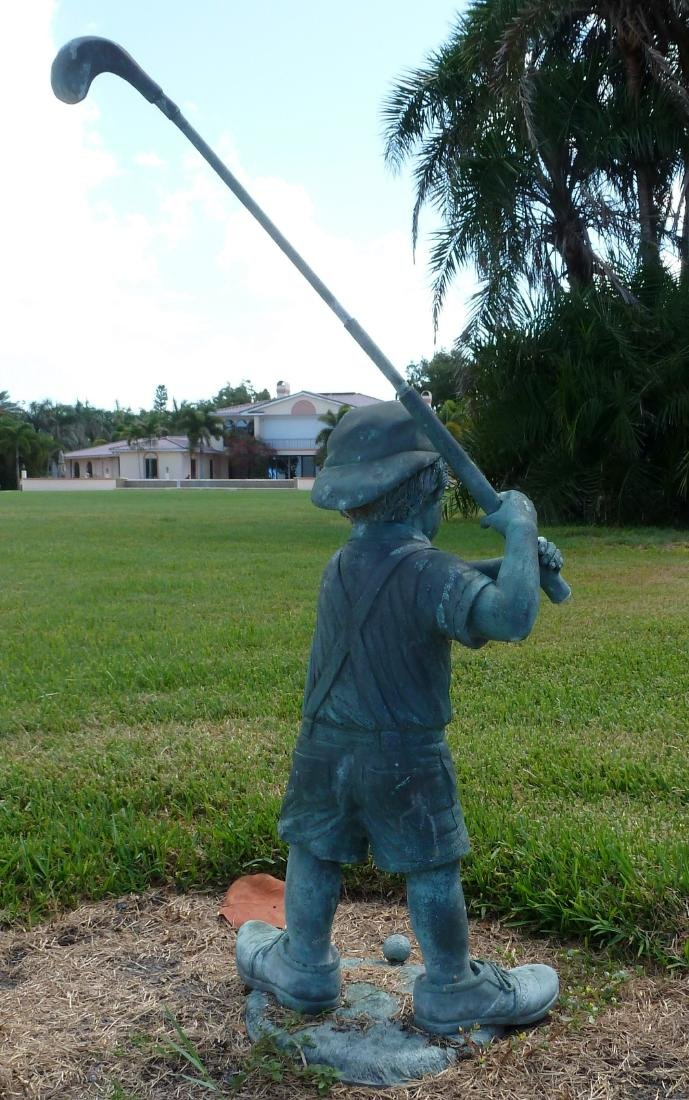 Garden Sculpture Bronze Boy Golfer - 3