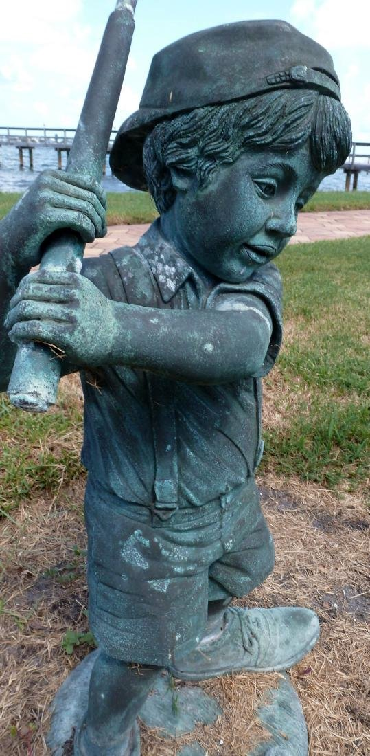 Garden Sculpture Bronze Boy Golfer - 4