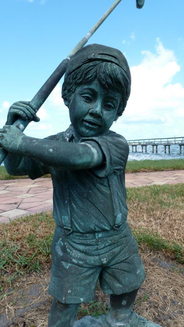 Garden Sculpture Bronze Boy Golfer - 6