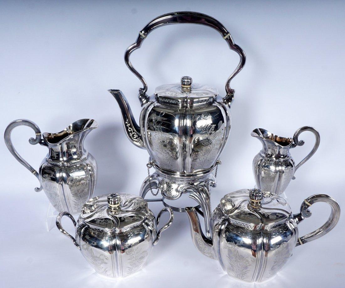 French Touron 5 Piece Silver Tea Service