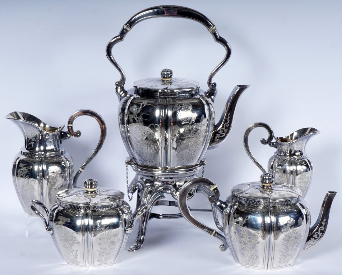 French Touron 5 Piece Silver Tea Service - 9