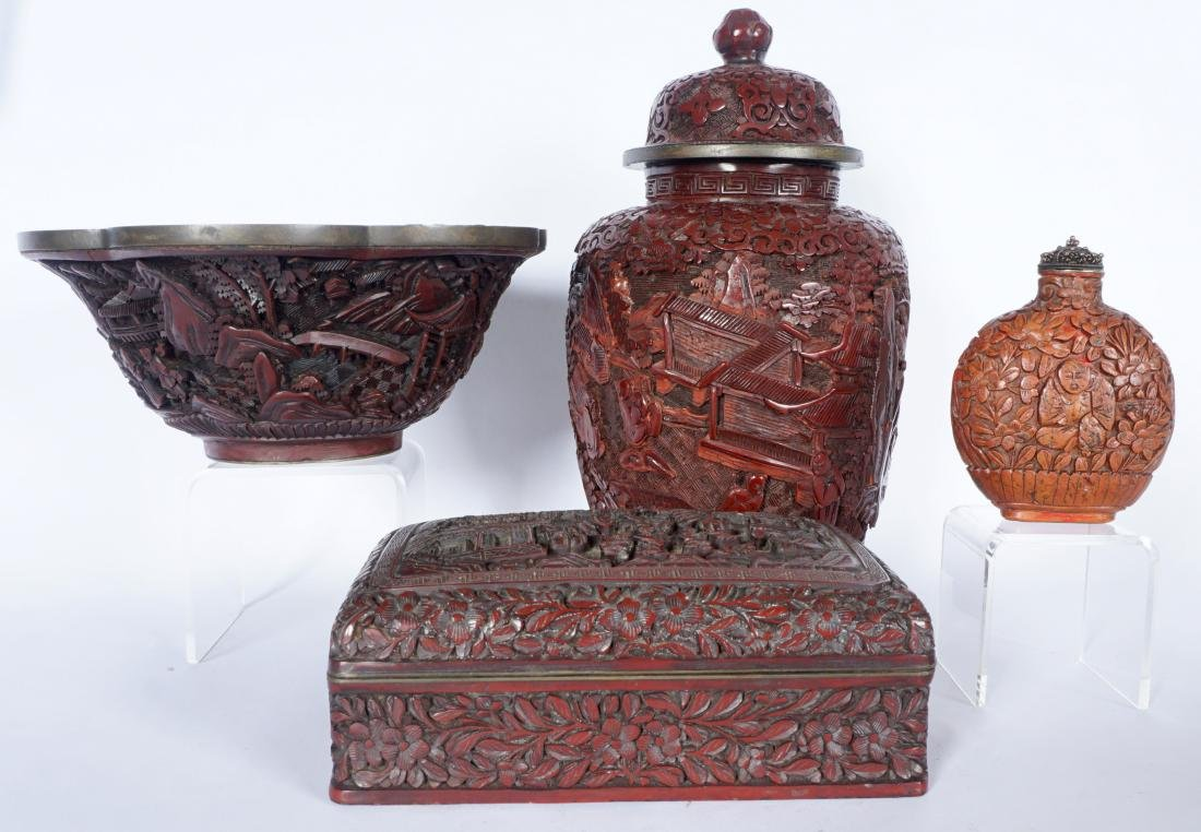 4 Piece Chinese Carved Cinnabar items