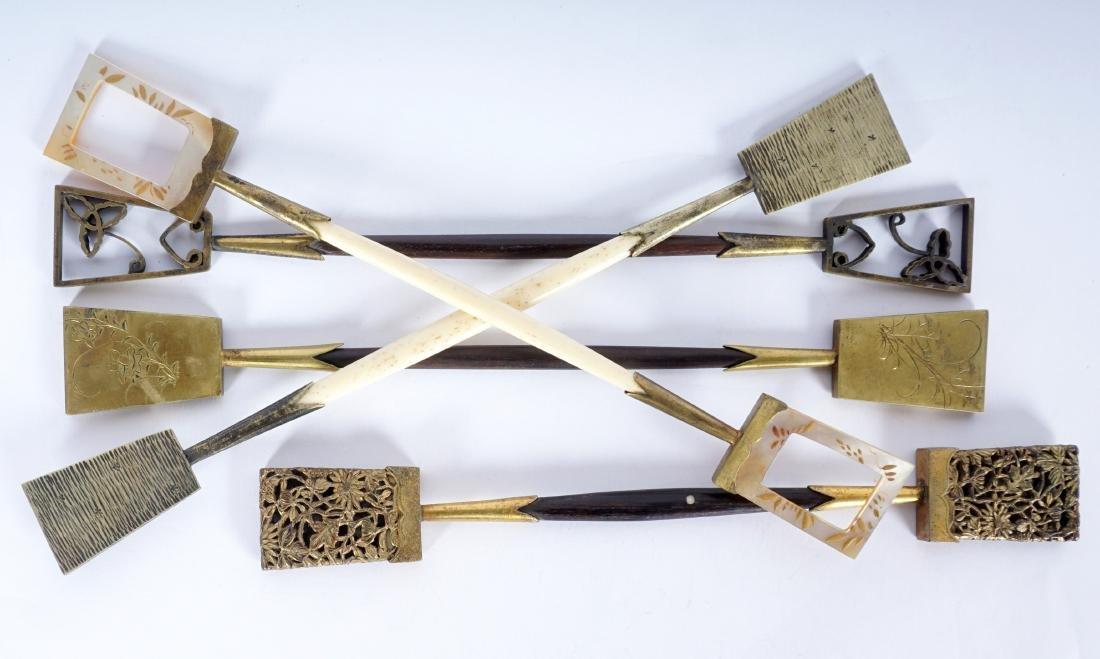 5 Japanese Ebony, Bone & Brass Hair Pins