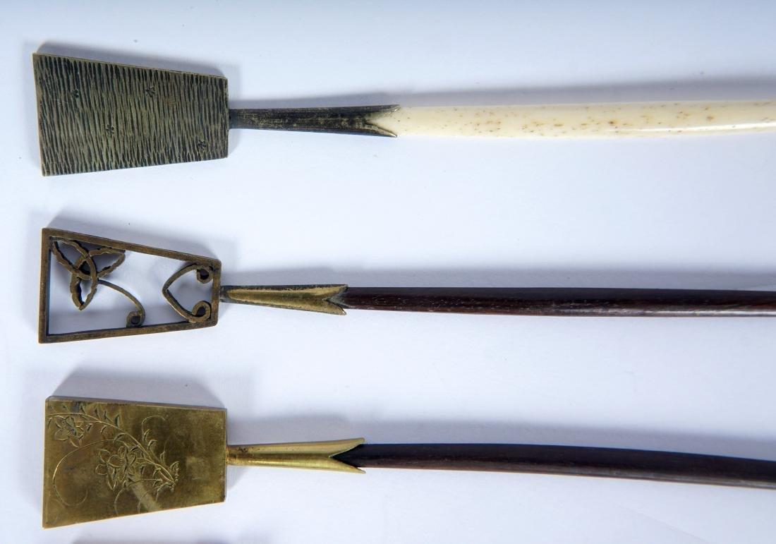 5 Japanese Ebony, Bone & Brass Hair Pins - 2
