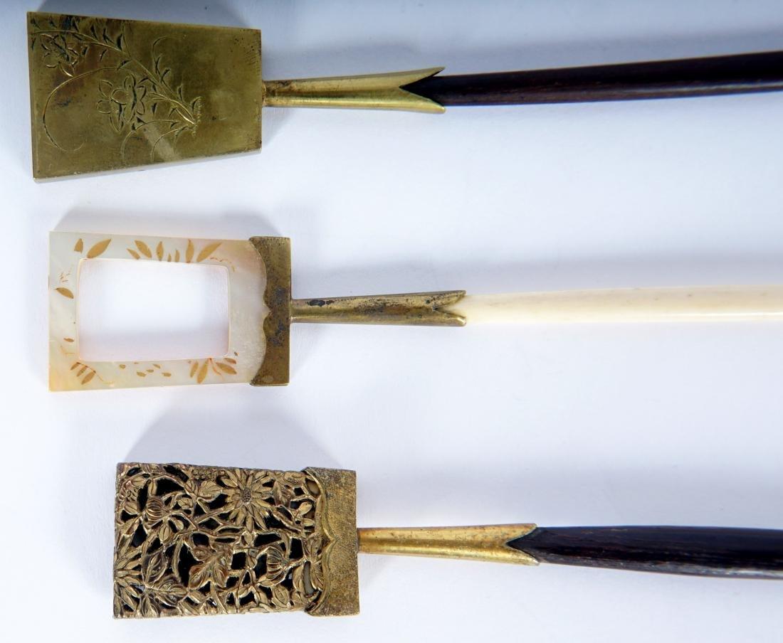5 Japanese Ebony, Bone & Brass Hair Pins - 3