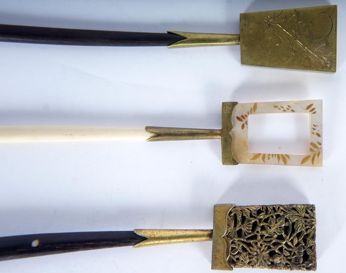5 Japanese Ebony, Bone & Brass Hair Pins - 4