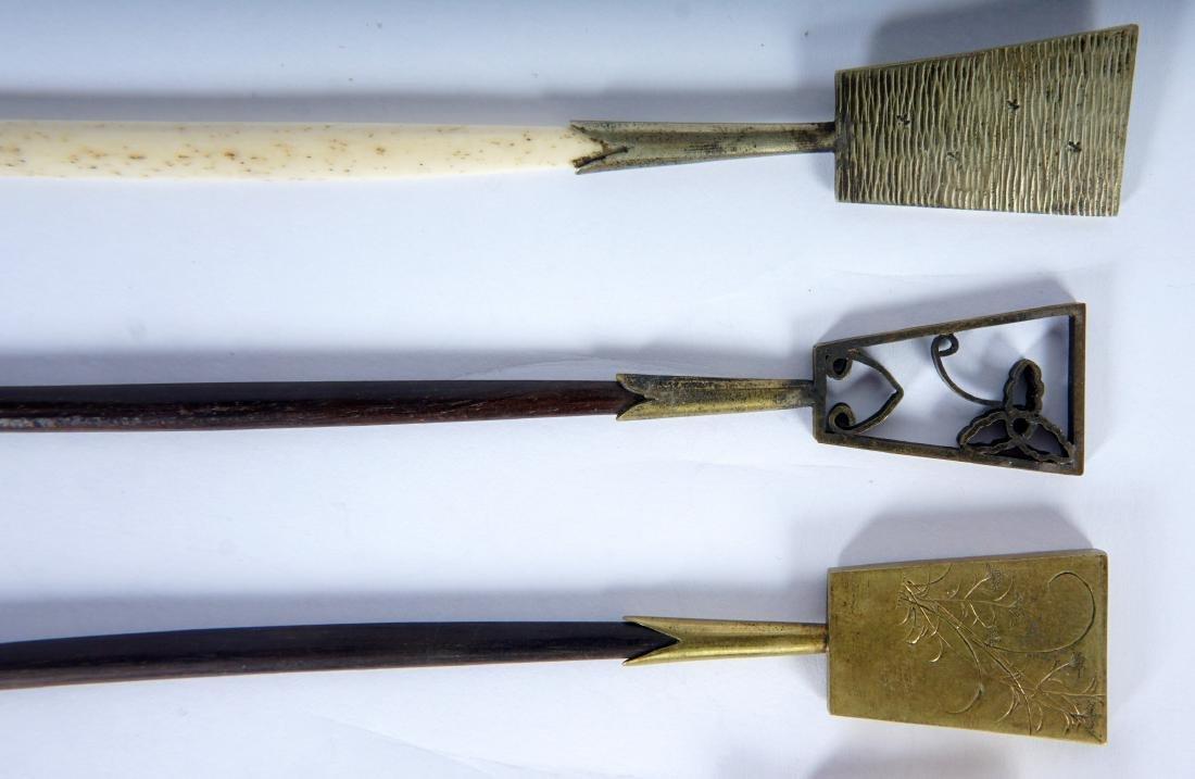 5 Japanese Ebony, Bone & Brass Hair Pins - 5