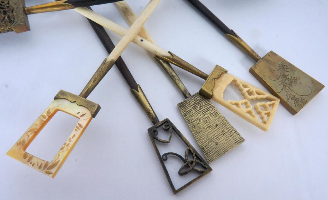 5 Japanese Ebony, Bone & Brass Hair Pins - 6