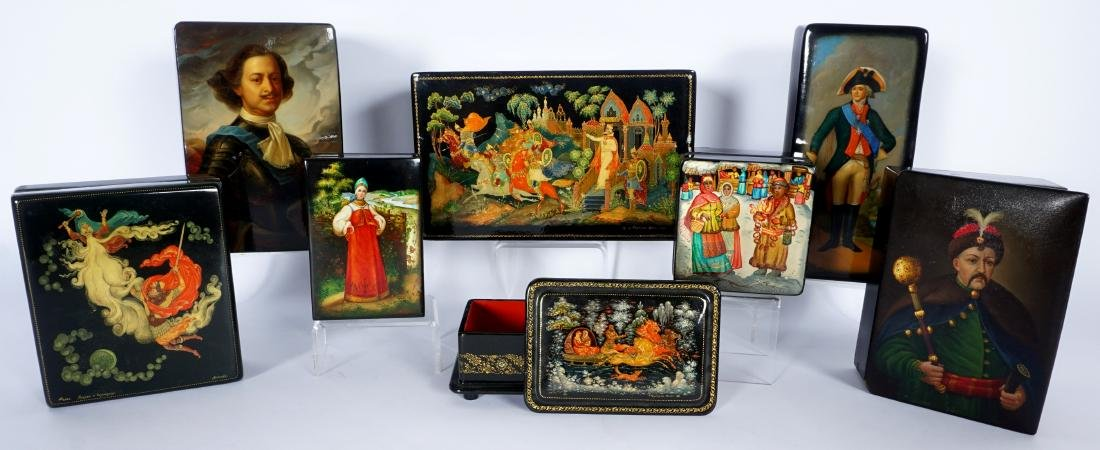 Collection of 8 Russian Lacquer Boxes