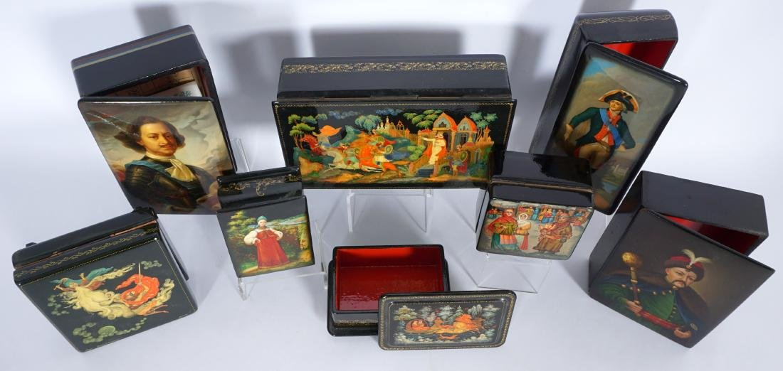 Collection of 8 Russian Lacquer Boxes - 2