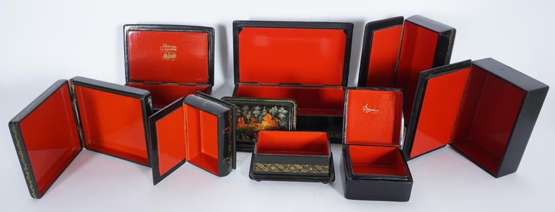 Collection of 8 Russian Lacquer Boxes - 3