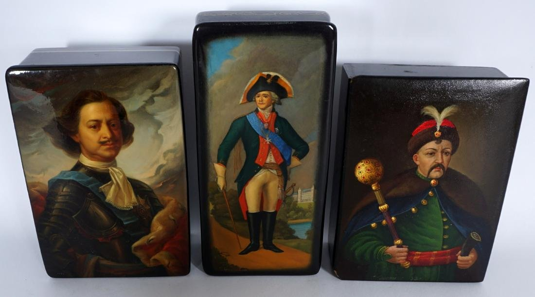 Collection of 8 Russian Lacquer Boxes - 6