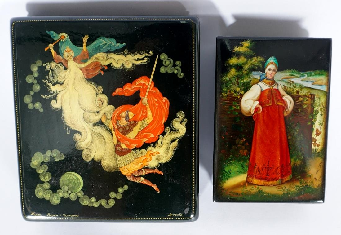 Collection of 8 Russian Lacquer Boxes - 9