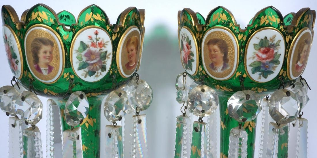 Pair Green Bohemian Glass Lusters - 2