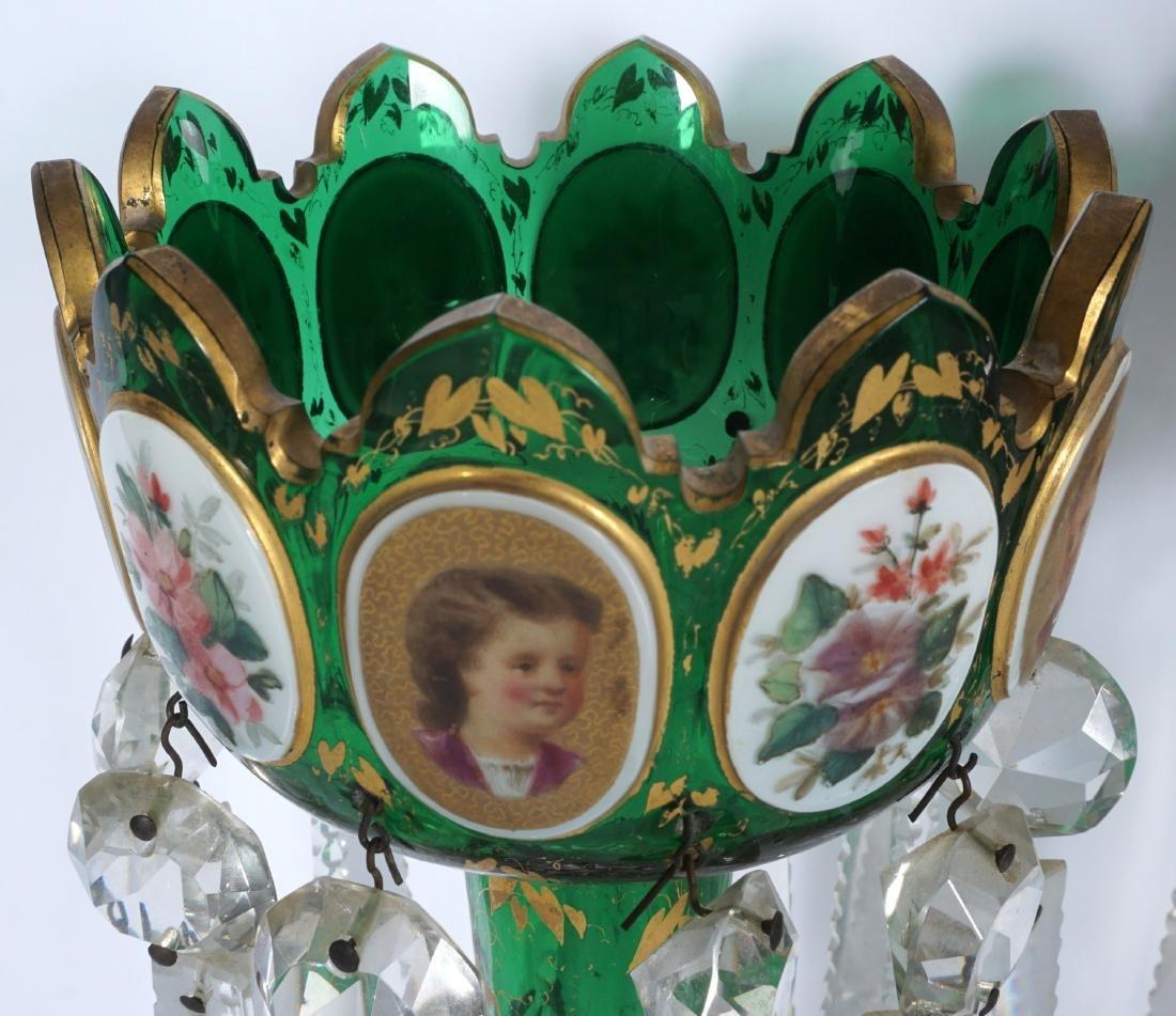 Pair Green Bohemian Glass Lusters - 3