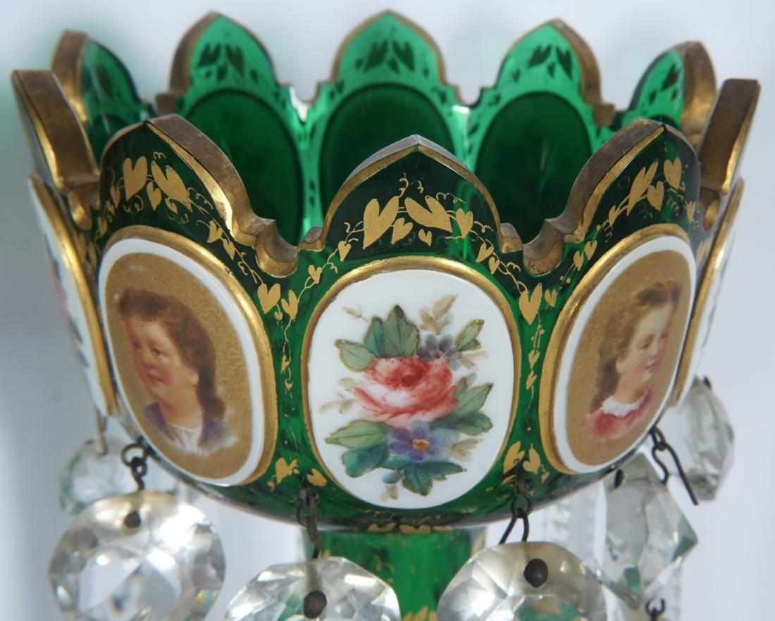 Pair Green Bohemian Glass Lusters - 4