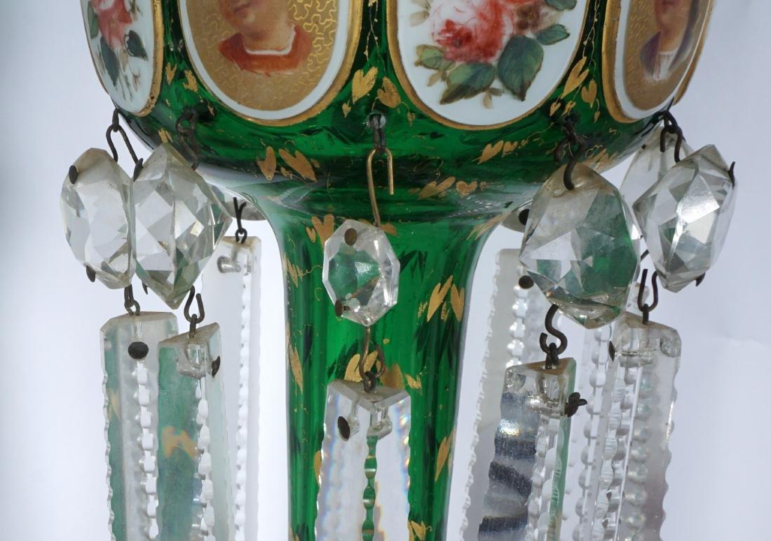 Pair Green Bohemian Glass Lusters - 5
